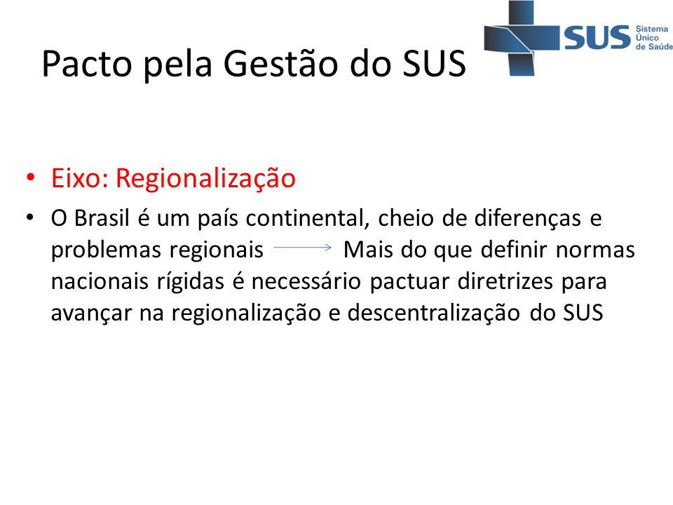 Pacto pela Gestão do SUS Eixo: Regionalização O Brasil é um país continental, cheio de diferenças e problemas regionais Mais do que definir normas nac