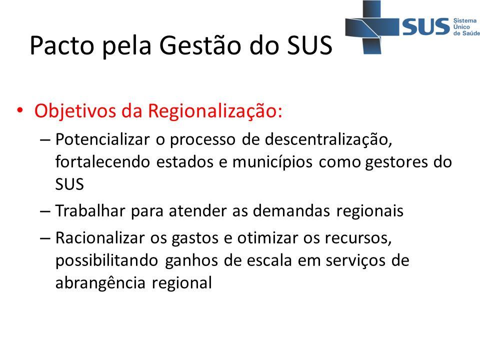 Pacto pela Gestão do SUS Objetivos da Regionalização: – Potencializar o processo de descentralização, fortalecendo estados e municípios como gestores