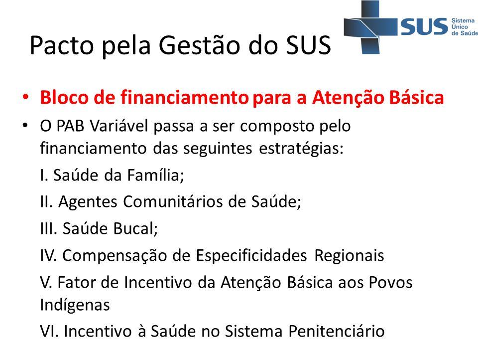 Pacto pela Gestão do SUS Bloco de financiamento para a Atenção Básica O PAB Variável passa a ser composto pelo financiamento das seguintes estratégias