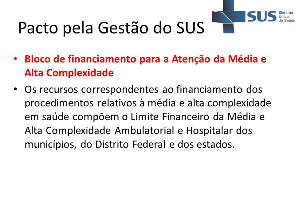 Pacto pela Gestão do SUS Bloco de financiamento para a Atenção da Média e Alta Complexidade Os recursos correspondentes ao financiamento dos procedime