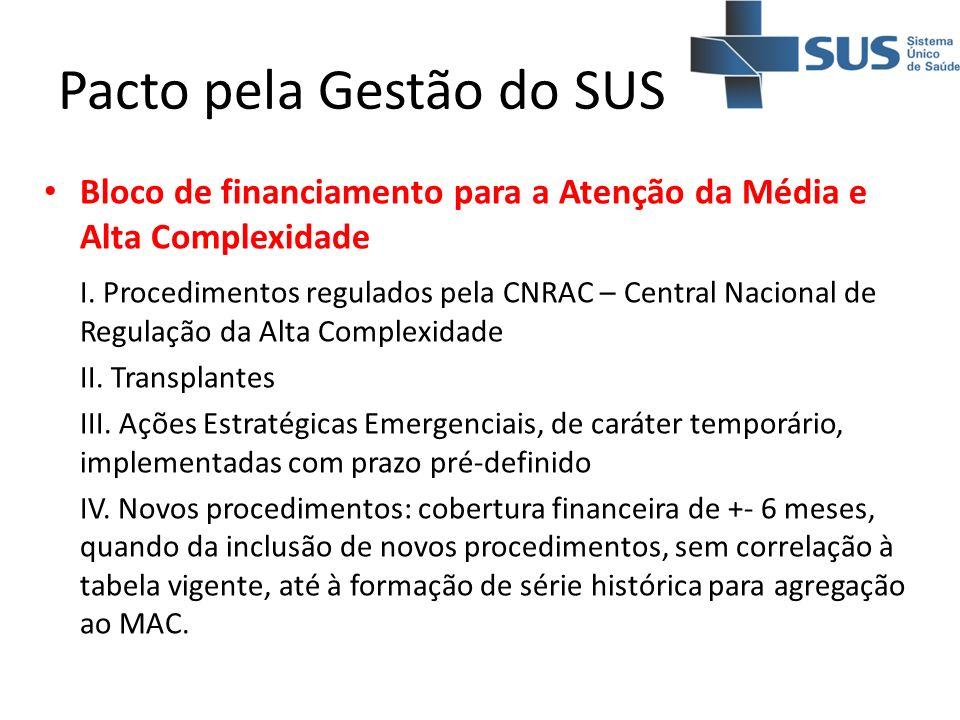 Pacto pela Gestão do SUS Bloco de financiamento para a Atenção da Média e Alta Complexidade I. Procedimentos regulados pela CNRAC – Central Nacional d