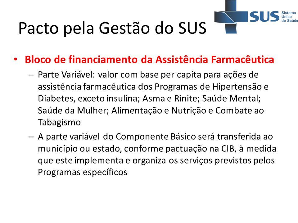 Pacto pela Gestão do SUS Bloco de financiamento da Assistência Farmacêutica – Parte Variável: valor com base per capita para ações de assistência farm