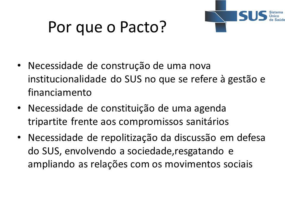 Por que o Pacto? Necessidade de construção de uma nova institucionalidade do SUS no que se refere à gestão e financiamento Necessidade de constituição