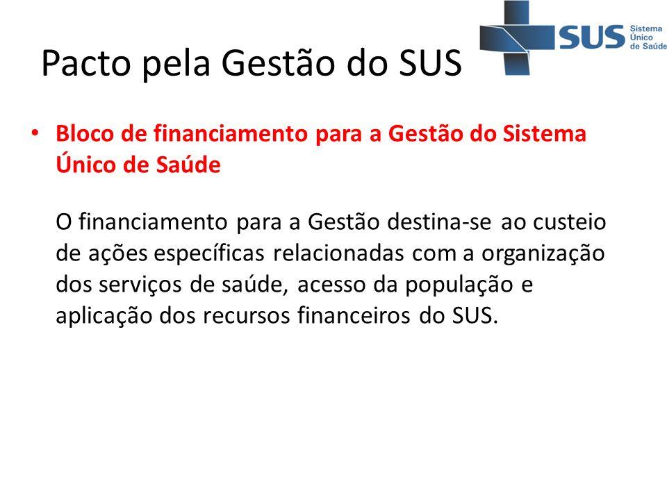 Pacto pela Gestão do SUS Bloco de financiamento para a Gestão do Sistema Único de Saúde O financiamento para a Gestão destina-se ao custeio de ações e