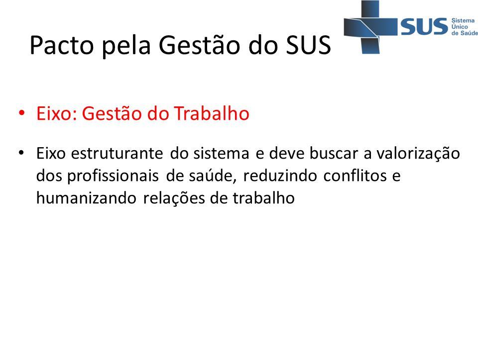 Pacto pela Gestão do SUS Eixo: Gestão do Trabalho Eixo estruturante do sistema e deve buscar a valorização dos profissionais de saúde, reduzindo confl