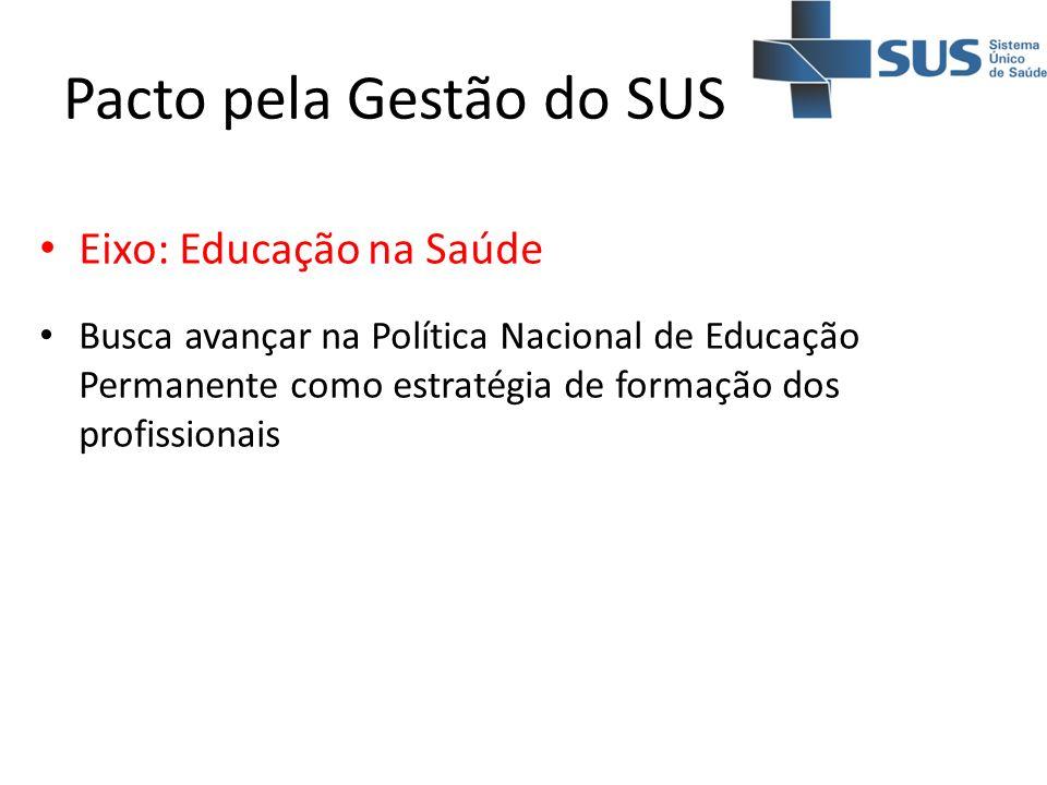 Pacto pela Gestão do SUS Eixo: Educação na Saúde Busca avançar na Política Nacional de Educação Permanente como estratégia de formação dos profissiona