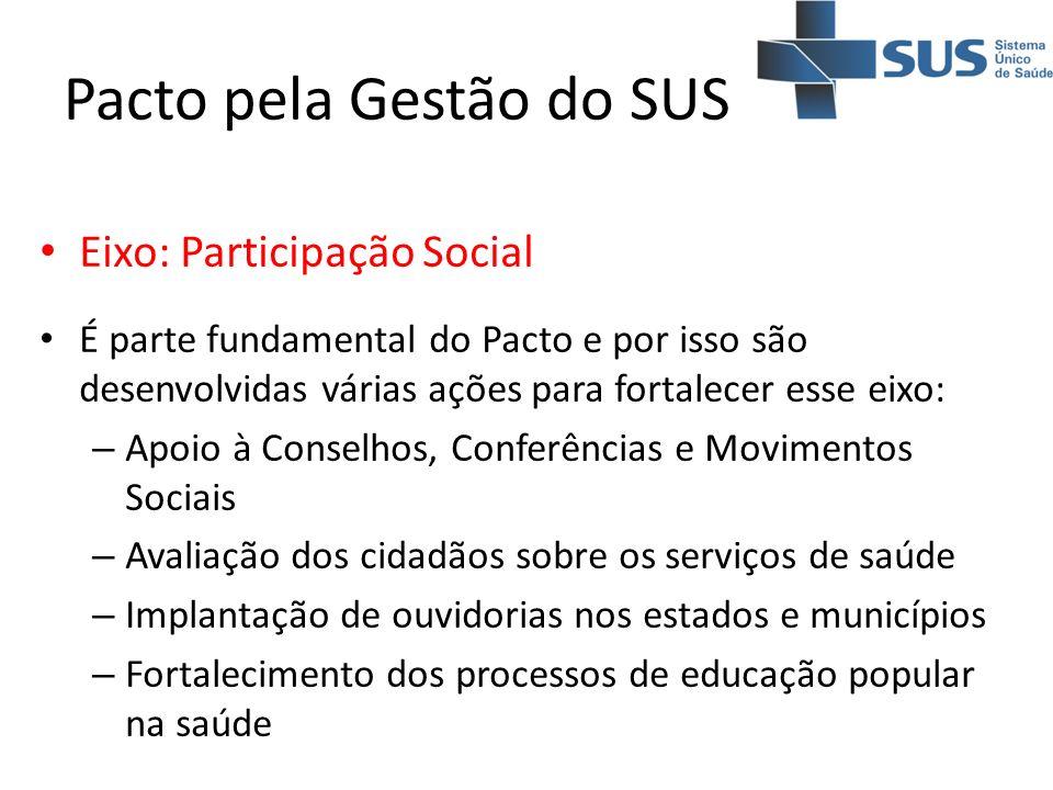Pacto pela Gestão do SUS Eixo: Participação Social É parte fundamental do Pacto e por isso são desenvolvidas várias ações para fortalecer esse eixo: –