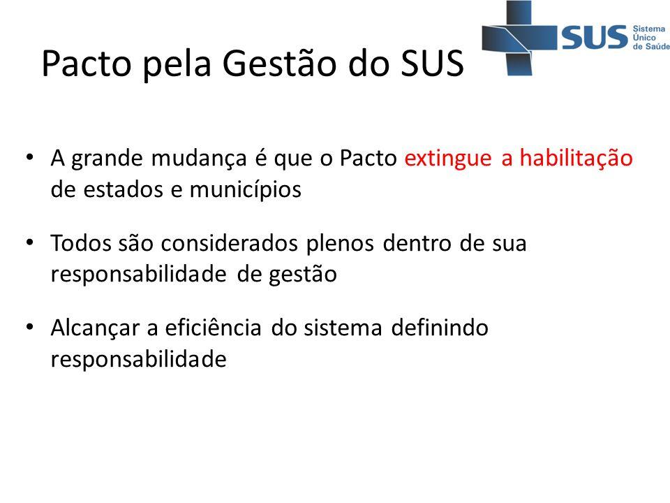 Pacto pela Gestão do SUS A grande mudança é que o Pacto extingue a habilitação de estados e municípios Todos são considerados plenos dentro de sua res