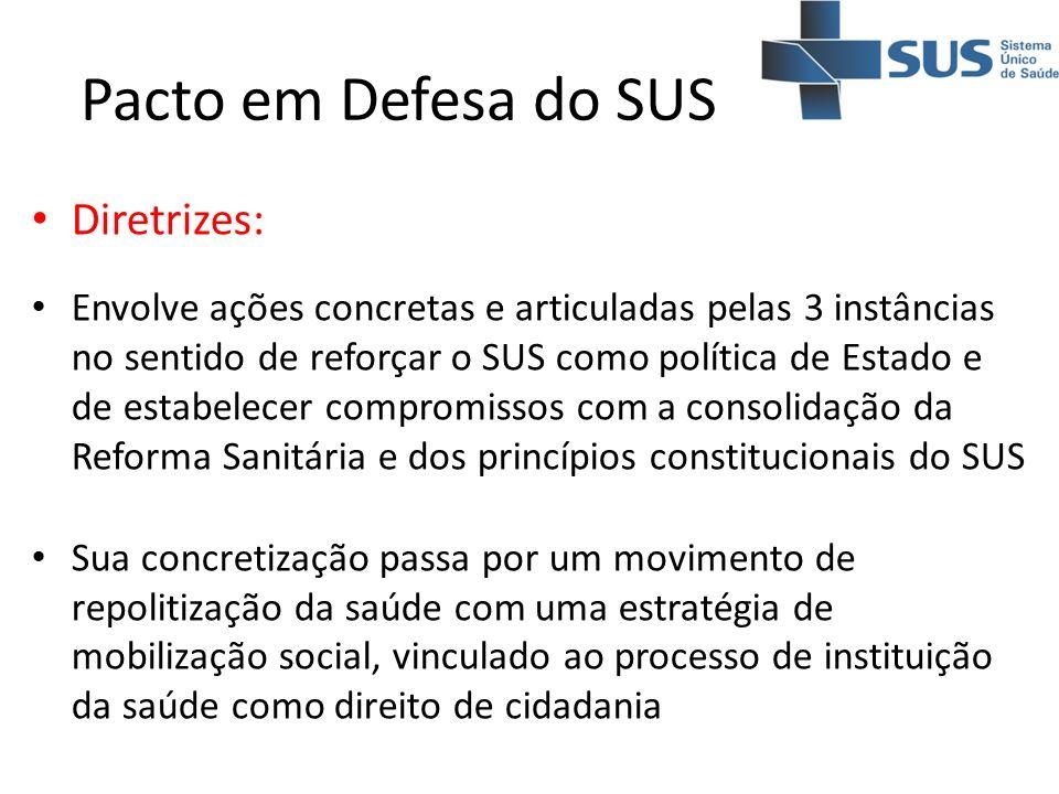 Diretrizes: Envolve ações concretas e articuladas pelas 3 instâncias no sentido de reforçar o SUS como política de Estado e de estabelecer compromisso