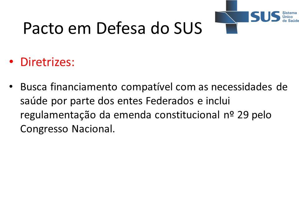 Pacto em Defesa do SUS Diretrizes: Busca financiamento compatível com as necessidades de saúde por parte dos entes Federados e inclui regulamentação d