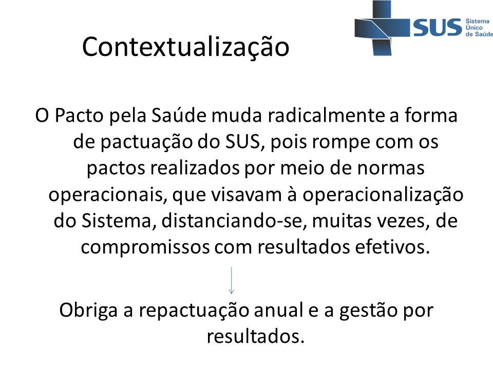 Contextualização O Pacto pela Saúde muda radicalmente a forma de pactuação do SUS, pois rompe com os pactos realizados por meio de normas operacionais
