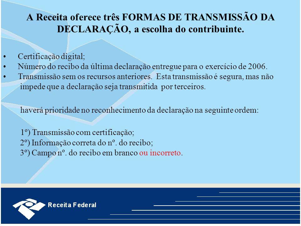 A Receita oferece três FORMAS DE TRANSMISSÃO DA DECLARAÇÃO, a escolha do contribuinte. Certificação digital; Número do recibo da última declaração ent