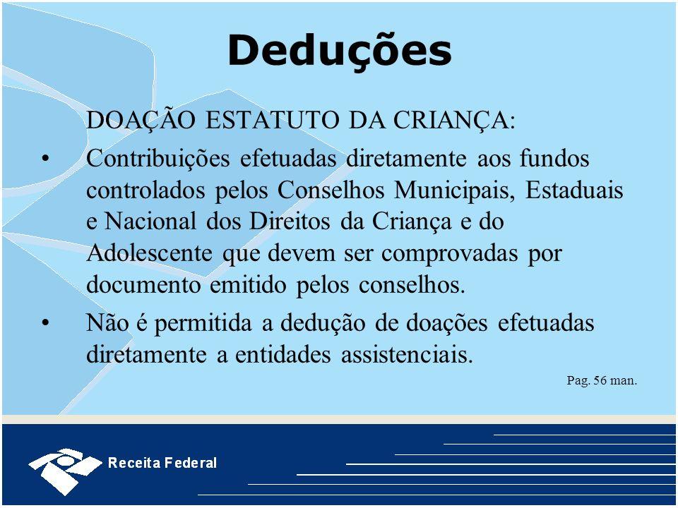 Deduções DOAÇÃO ESTATUTO DA CRIANÇA: Contribuições efetuadas diretamente aos fundos controlados pelos Conselhos Municipais, Estaduais e Nacional dos D