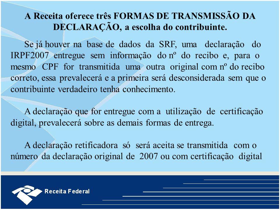 A Receita oferece três FORMAS DE TRANSMISSÃO DA DECLARAÇÃO, a escolha do contribuinte. Se já houver na base de dados da SRF, uma declaração do IRPF200
