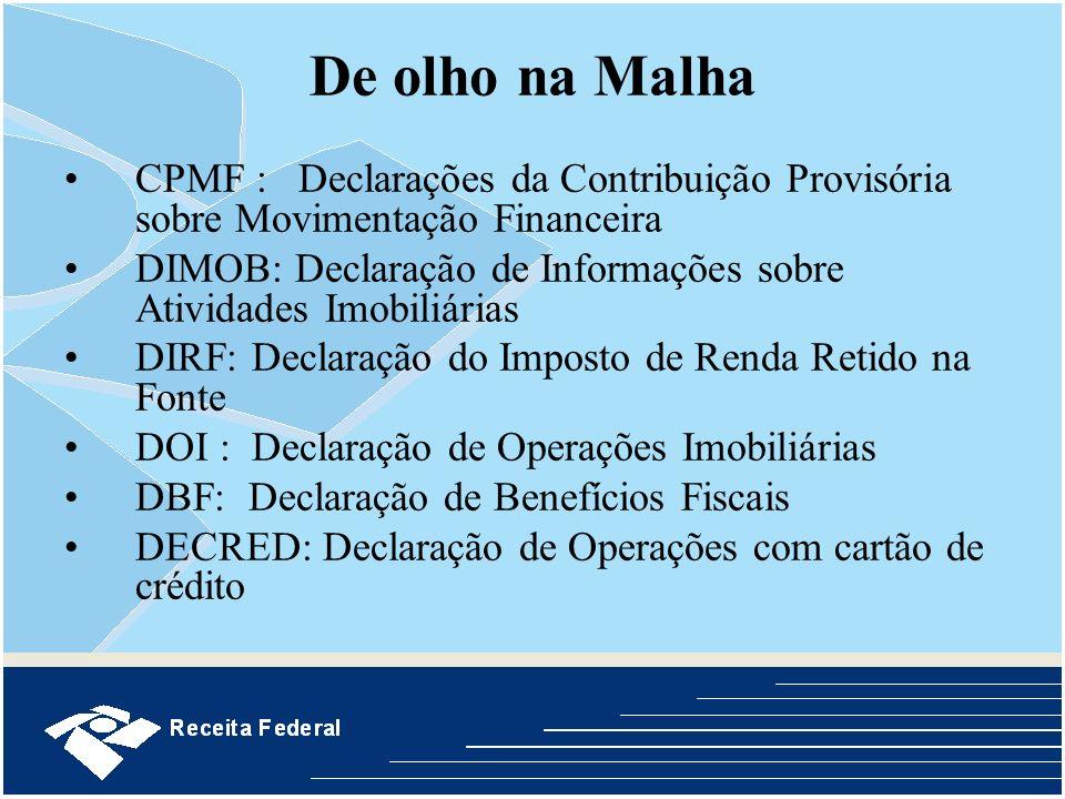 De olho na Malha CPMF : Declarações da Contribuição Provisória sobre Movimentação Financeira DIMOB: Declaração de Informações sobre Atividades Imobili