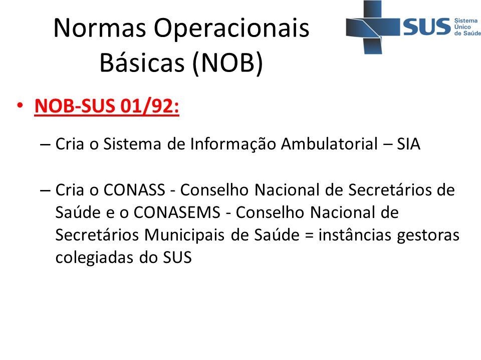 Normas Operacionais Básicas (NOB) NOB-SUS 01/92: – Cria o Sistema de Informação Ambulatorial – SIA – Cria o CONASS - Conselho Nacional de Secretários