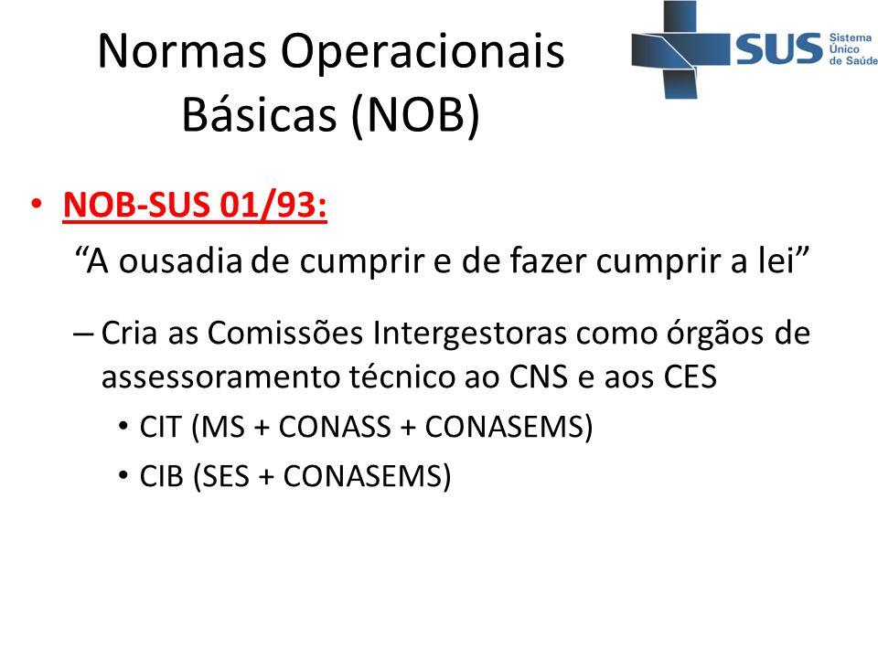 Normas Operacionais Básicas (NOB) NOB-SUS 01/93: A ousadia de cumprir e de fazer cumprir a lei – Cria as Comissões Intergestoras como órgãos de assess