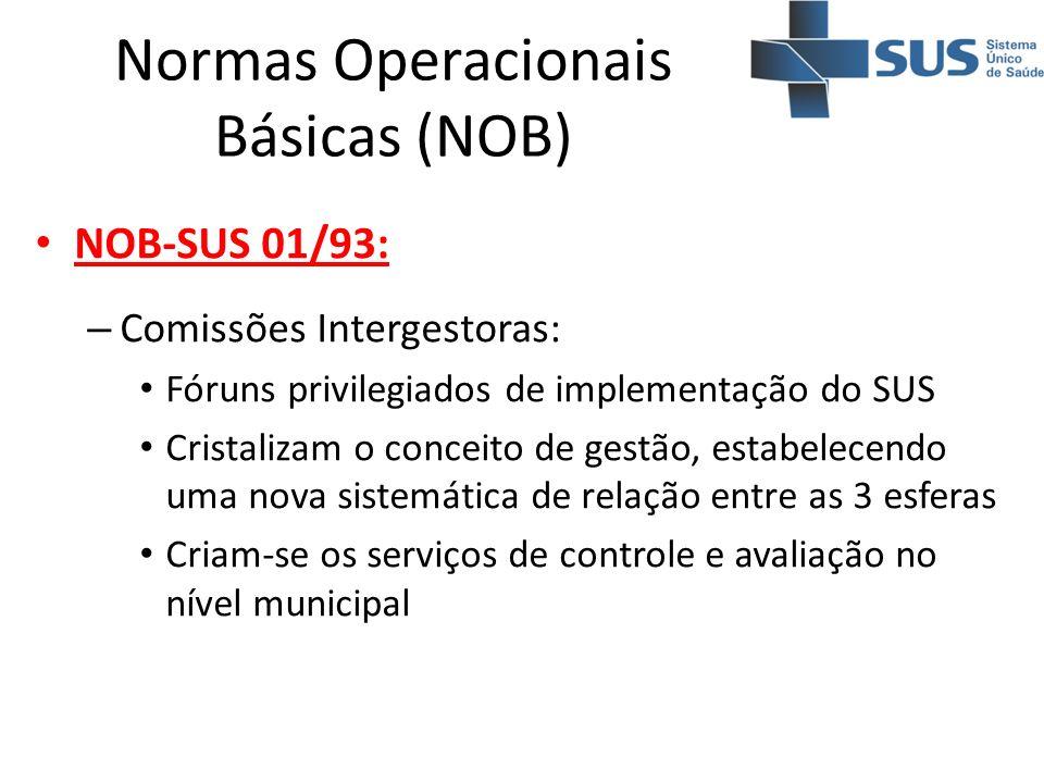Normas Operacionais Básicas (NOB) NOB-SUS 01/93: – Comissões Intergestoras: Fóruns privilegiados de implementação do SUS Cristalizam o conceito de ges