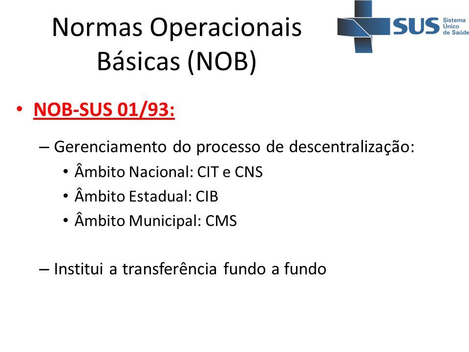 Normas Operacionais Básicas (NOB) NOB-SUS 01/93: – Gerenciamento do processo de descentralização: Âmbito Nacional: CIT e CNS Âmbito Estadual: CIB Âmbi