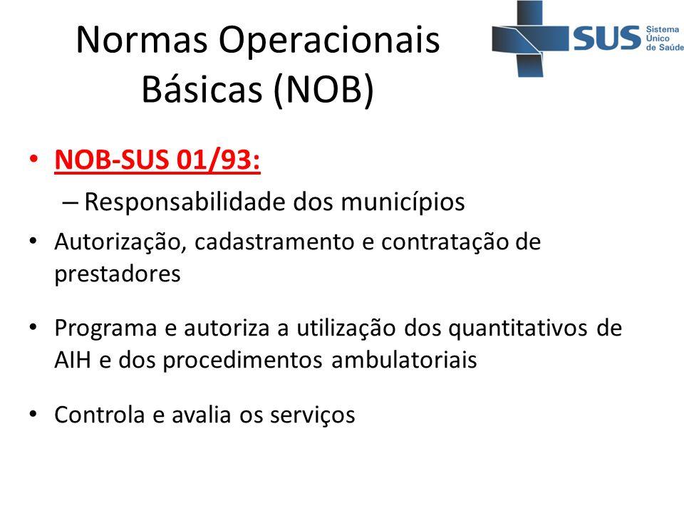 Normas Operacionais Básicas (NOB) NOB-SUS 01/93: – Responsabilidade dos municípios Autorização, cadastramento e contratação de prestadores Programa e