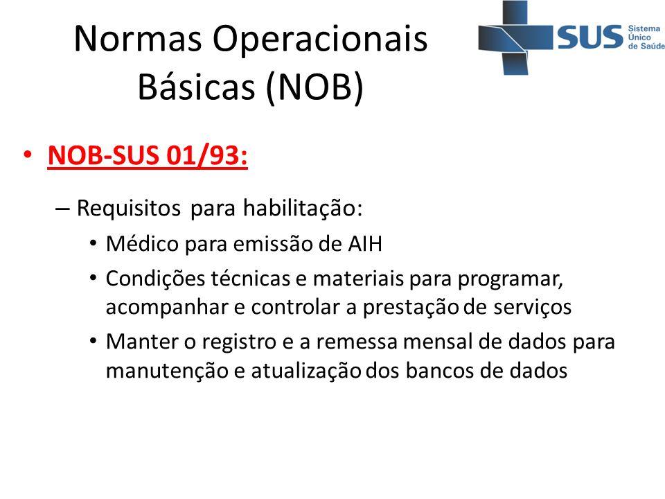 Normas Operacionais Básicas (NOB) NOB-SUS 01/93: – Requisitos para habilitação: Médico para emissão de AIH Condições técnicas e materiais para program