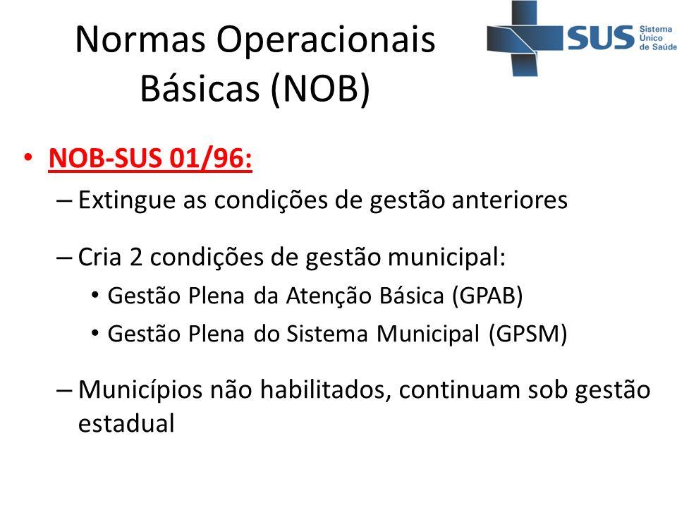 Normas Operacionais Básicas (NOB) NOB-SUS 01/96: – Extingue as condições de gestão anteriores – Cria 2 condições de gestão municipal: Gestão Plena da