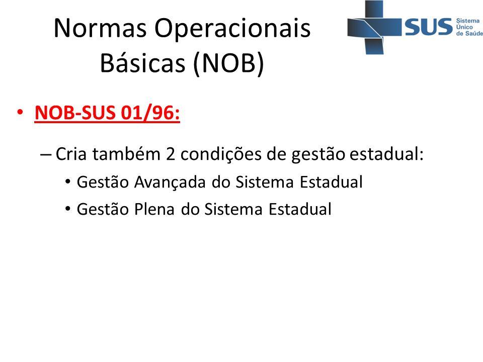 Normas Operacionais Básicas (NOB) NOB-SUS 01/96: – Cria também 2 condições de gestão estadual: Gestão Avançada do Sistema Estadual Gestão Plena do Sis