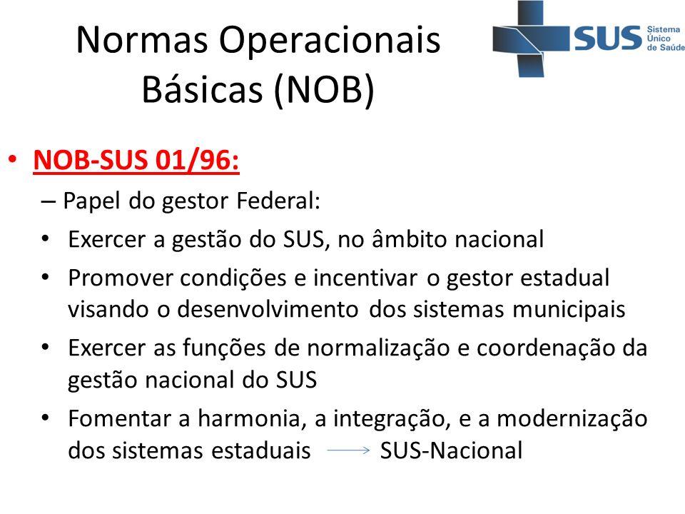 Normas Operacionais Básicas (NOB) NOB-SUS 01/96: – Papel do gestor Federal: Exercer a gestão do SUS, no âmbito nacional Promover condições e incentiva