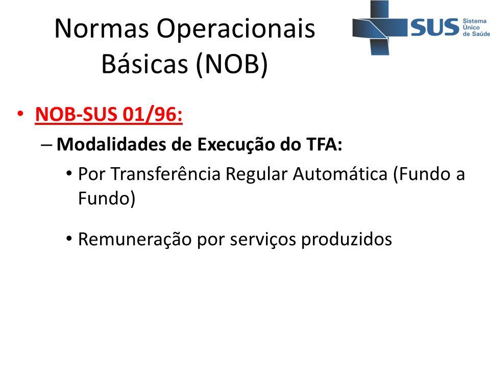 Normas Operacionais Básicas (NOB) NOB-SUS 01/96: – Modalidades de Execução do TFA: Por Transferência Regular Automática (Fundo a Fundo) Remuneração po
