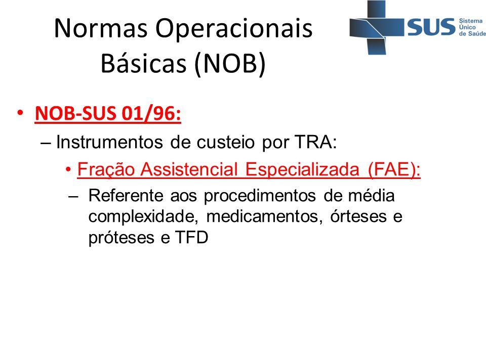 Normas Operacionais Básicas (NOB) NOB-SUS 01/96: –Instrumentos de custeio por TRA: Fração Assistencial Especializada (FAE): –Referente aos procediment
