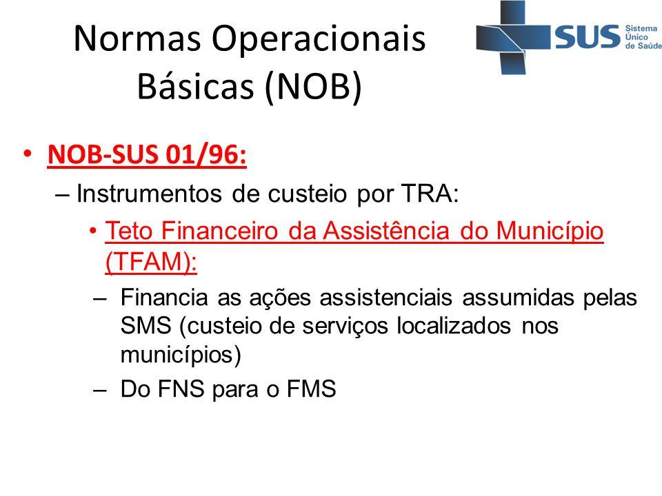 Normas Operacionais Básicas (NOB) NOB-SUS 01/96: –Instrumentos de custeio por TRA: Teto Financeiro da Assistência do Município (TFAM): –Financia as aç