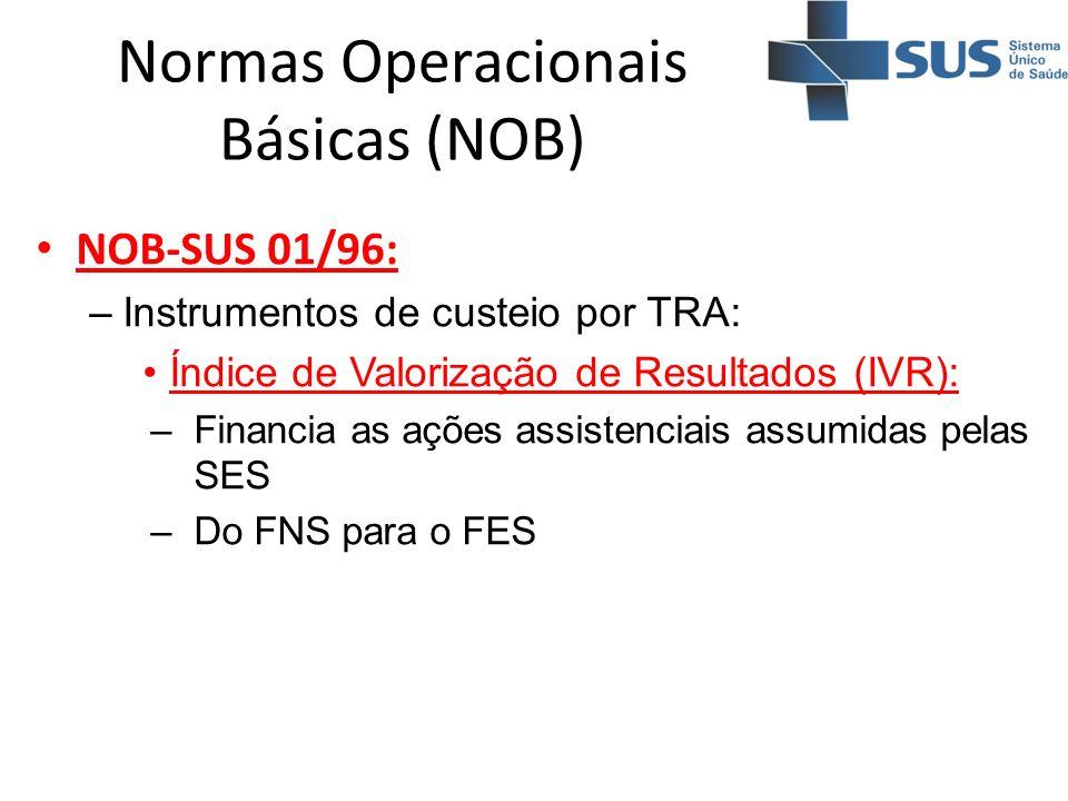 Normas Operacionais Básicas (NOB) NOB-SUS 01/96: –Instrumentos de custeio por TRA: Índice de Valorização de Resultados (IVR): –Financia as ações assis