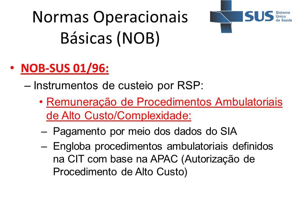 Normas Operacionais Básicas (NOB) NOB-SUS 01/96: –Instrumentos de custeio por RSP: Remuneração de Procedimentos Ambulatoriais de Alto Custo/Complexida