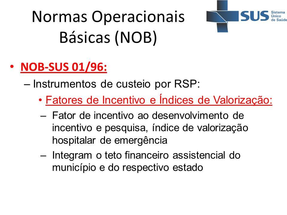 Normas Operacionais Básicas (NOB) NOB-SUS 01/96: –Instrumentos de custeio por RSP: Fatores de Incentivo e Índices de Valorização: –Fator de incentivo