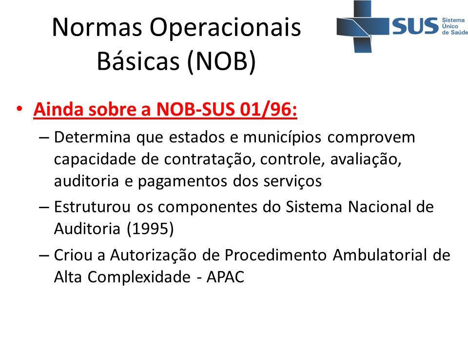 Normas Operacionais Básicas (NOB) Ainda sobre a NOB-SUS 01/96: – Determina que estados e municípios comprovem capacidade de contratação, controle, ava
