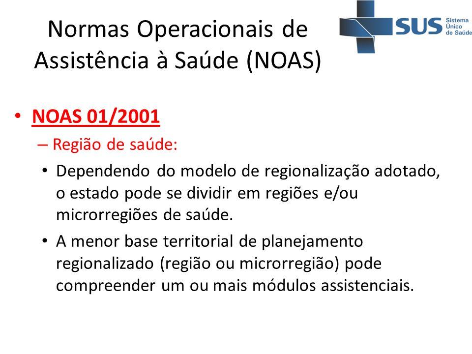 Normas Operacionais de Assistência à Saúde (NOAS) NOAS 01/2001 – Região de saúde: Dependendo do modelo de regionalização adotado, o estado pode se div
