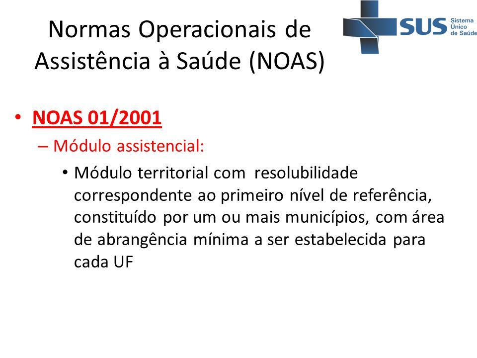 Normas Operacionais de Assistência à Saúde (NOAS) NOAS 01/2001 – Módulo assistencial: Módulo territorial com resolubilidade correspondente ao primeiro