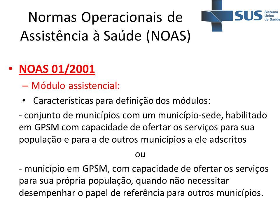 Normas Operacionais de Assistência à Saúde (NOAS) NOAS 01/2001 – Módulo assistencial: Características para definição dos módulos: - conjunto de municí