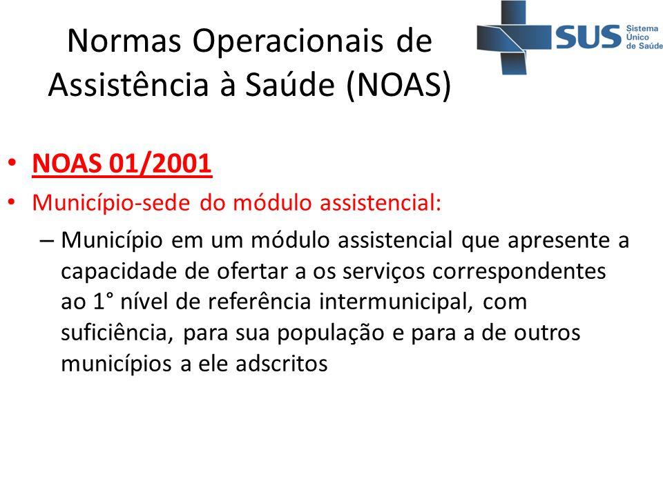 Normas Operacionais de Assistência à Saúde (NOAS) NOAS 01/2001 Município-sede do módulo assistencial: – Município em um módulo assistencial que aprese