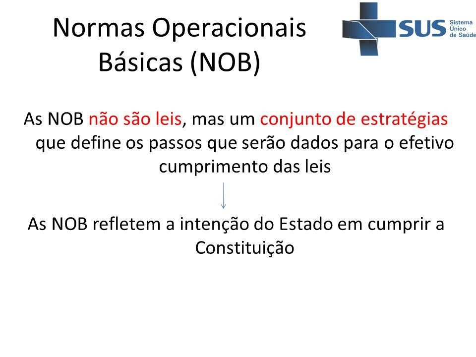 Normas Operacionais Básicas (NOB) As NOB não são leis, mas um conjunto de estratégias que define os passos que serão dados para o efetivo cumprimento