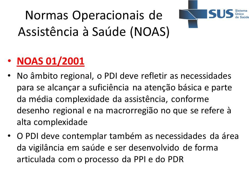 Normas Operacionais de Assistência à Saúde (NOAS) NOAS 01/2001 No âmbito regional, o PDI deve refletir as necessidades para se alcançar a suficiência