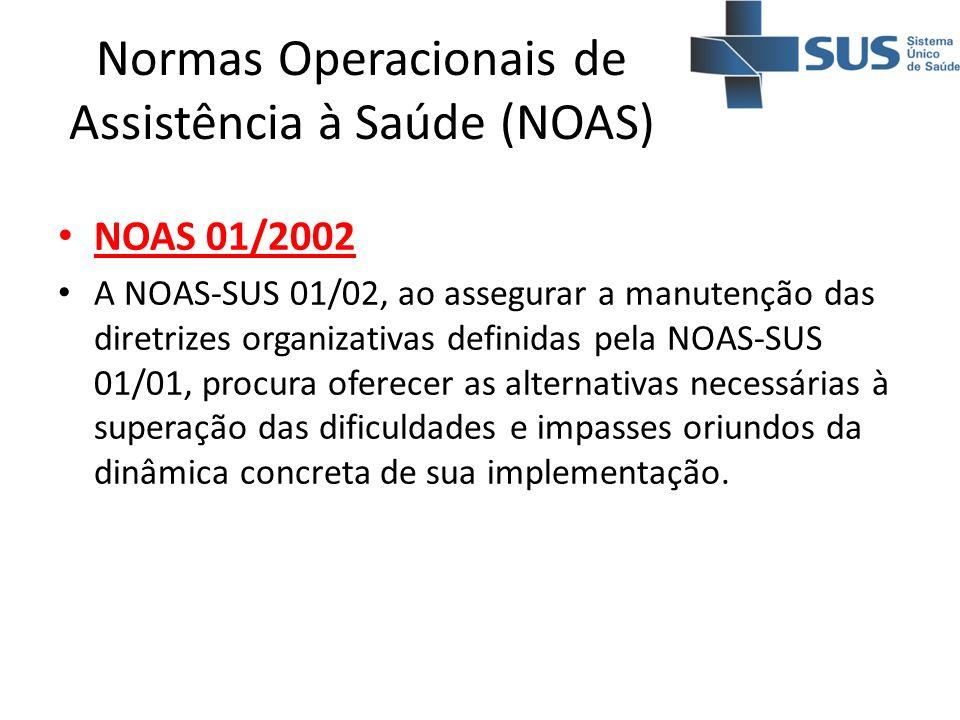 Normas Operacionais de Assistência à Saúde (NOAS) NOAS 01/2002 A NOAS-SUS 01/02, ao assegurar a manutenção das diretrizes organizativas definidas pela