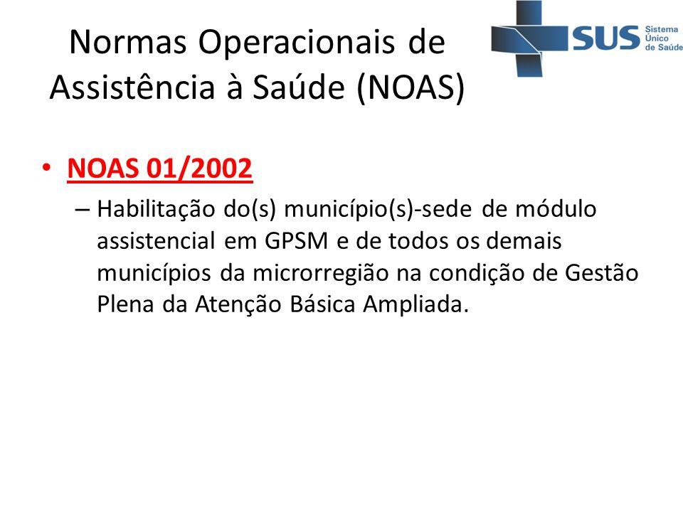 Normas Operacionais de Assistência à Saúde (NOAS) NOAS 01/2002 – Habilitação do(s) município(s)-sede de módulo assistencial em GPSM e de todos os dema