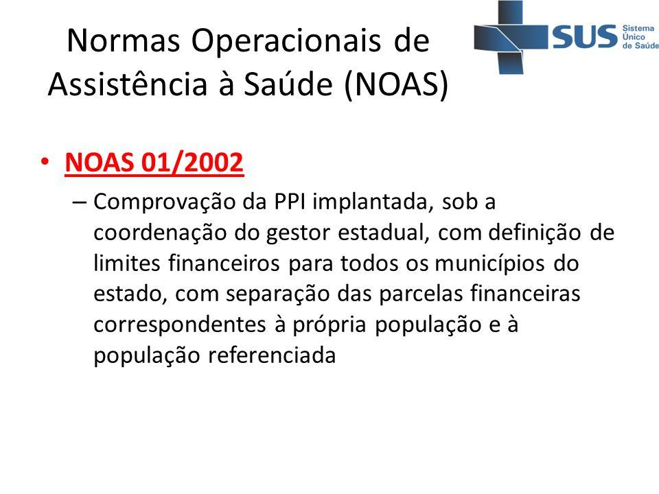 Normas Operacionais de Assistência à Saúde (NOAS) NOAS 01/2002 – Comprovação da PPI implantada, sob a coordenação do gestor estadual, com definição de