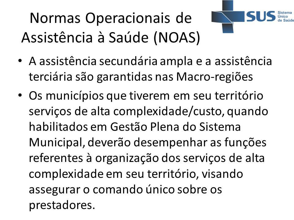 A assistência secundária ampla e a assistência terciária são garantidas nas Macro-regiões Os municípios que tiverem em seu território serviços de alta