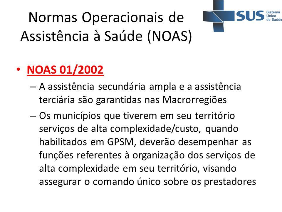 NOAS 01/2002 – A assistência secundária ampla e a assistência terciária são garantidas nas Macrorregiões – Os municípios que tiverem em seu território