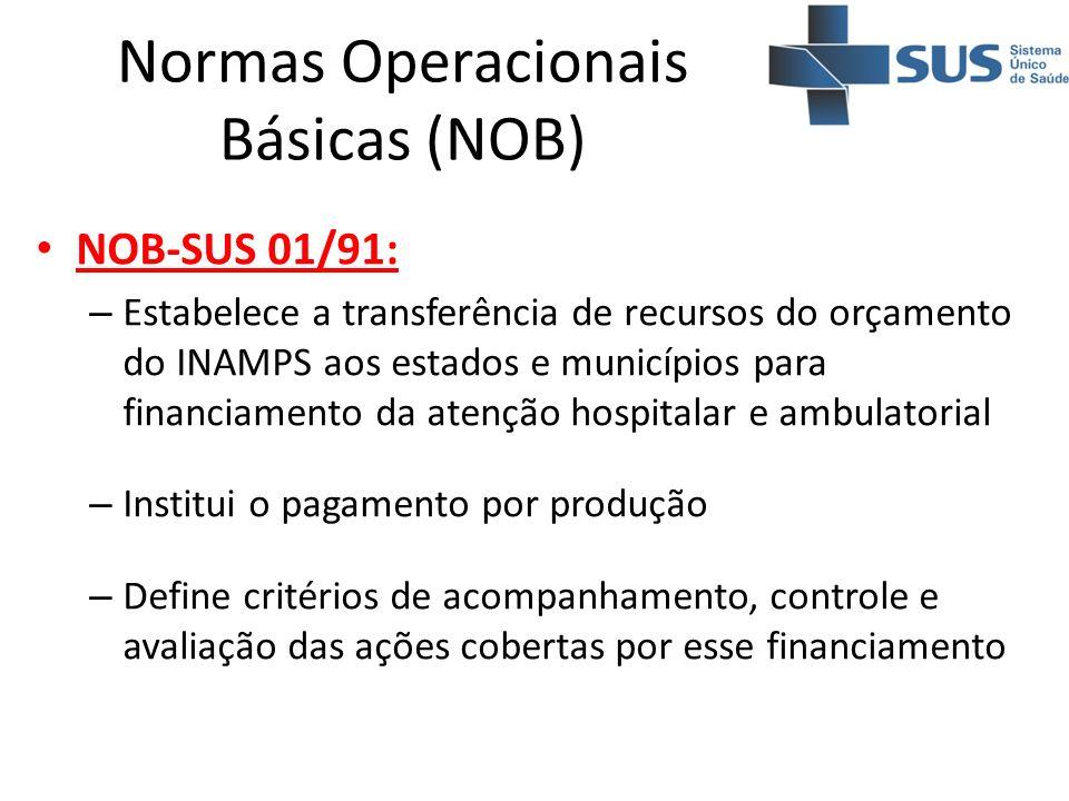 Normas Operacionais Básicas (NOB) NOB-SUS 01/91: – Estabelece a transferência de recursos do orçamento do INAMPS aos estados e municípios para financi