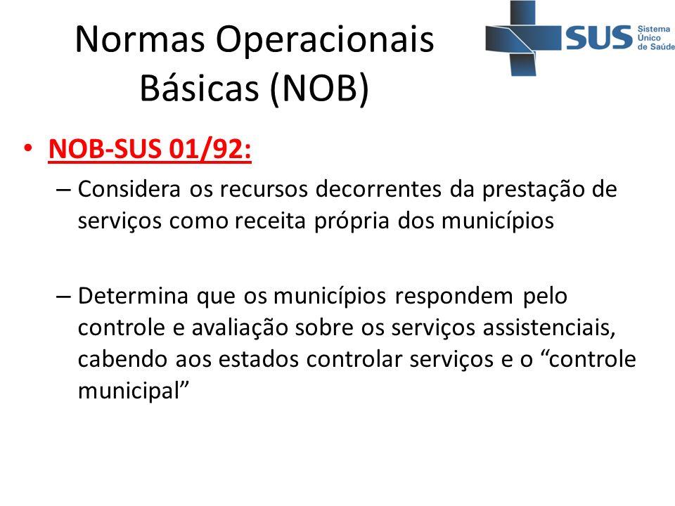Normas Operacionais Básicas (NOB) NOB-SUS 01/92: – Considera os recursos decorrentes da prestação de serviços como receita própria dos municípios – De