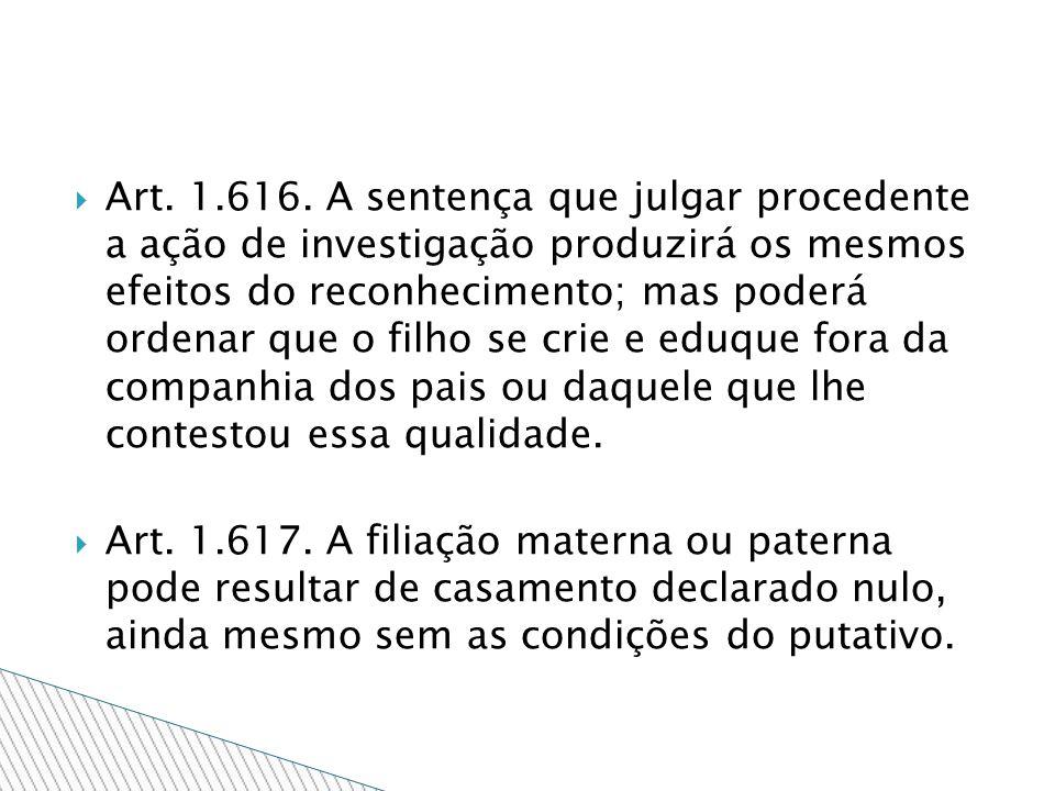 Art. 1.616. A sentença que julgar procedente a ação de investigação produzirá os mesmos efeitos do reconhecimento; mas poderá ordenar que o filho se c