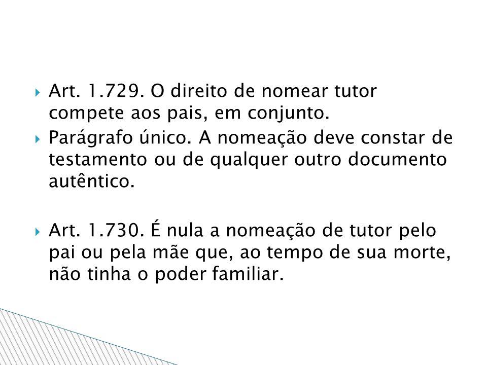 Art. 1.729. O direito de nomear tutor compete aos pais, em conjunto. Parágrafo único. A nomeação deve constar de testamento ou de qualquer outro docum